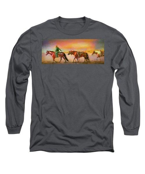 Long Sleeve T-Shirt featuring the digital art Riding The Surf by Kari Nanstad