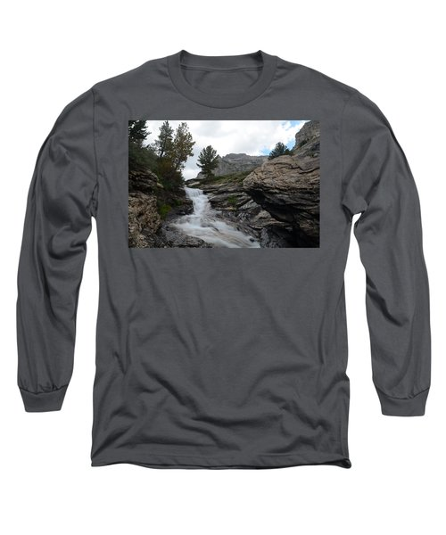 Long Sleeve T-Shirt featuring the photograph Right Fork Waterfall by Jenessa Rahn