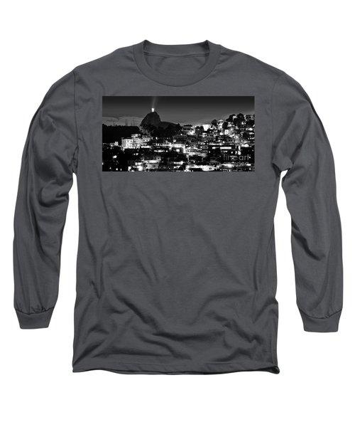 Rio De Janeiro - Christ The Redeemer On Corcovado, Mountains And Slums Long Sleeve T-Shirt