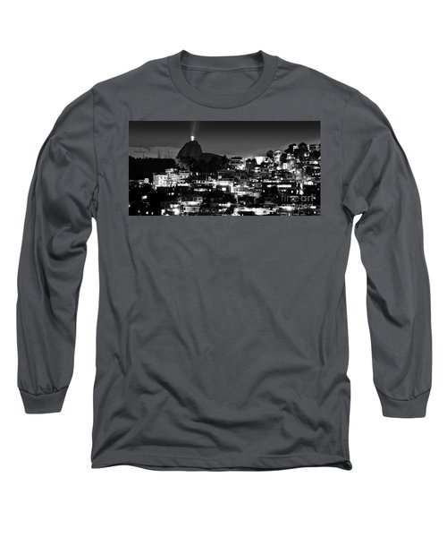 Rio De Janeiro - Christ The Redeemer On Corcovado, Mountains And Slums Long Sleeve T-Shirt
