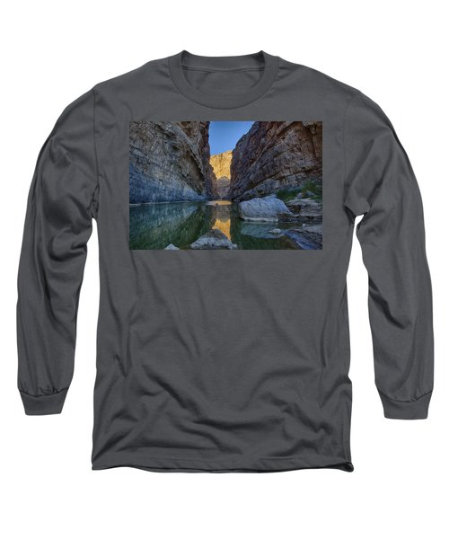 Long Sleeve T-Shirt featuring the tapestry - textile Rio Grand - Big Bend by Kathy Adams Clark