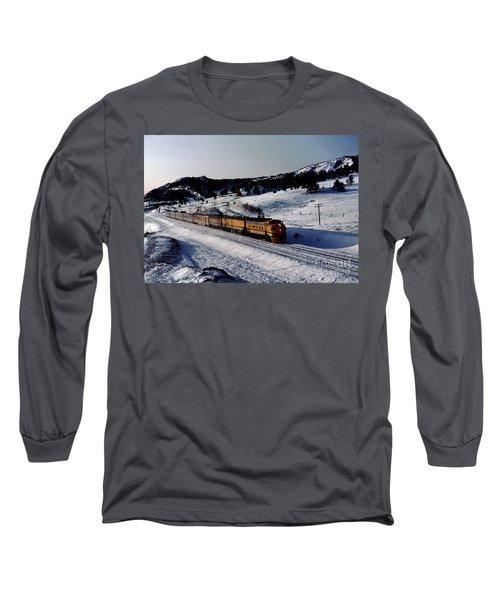 Rio Grande Zephyr Trainset In The Snow, Plainview Colorado, 1983 Long Sleeve T-Shirt