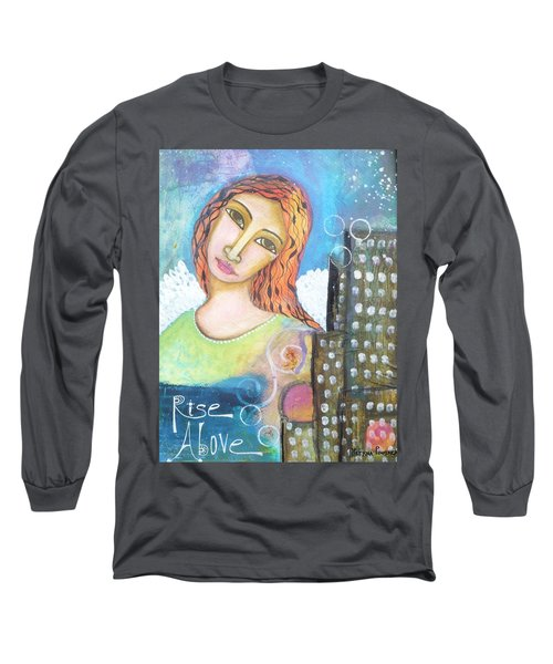 Long Sleeve T-Shirt featuring the painting Rise Above Because You Are An Angel by Prerna Poojara