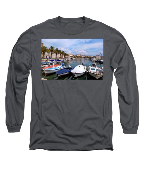 Riva Waterfront, Houses And Cathedral Of Saint Domnius, Dujam, Duje, Bell Tower Old Town, Split, Croatia Long Sleeve T-Shirt by Elenarts - Elena Duvernay photo