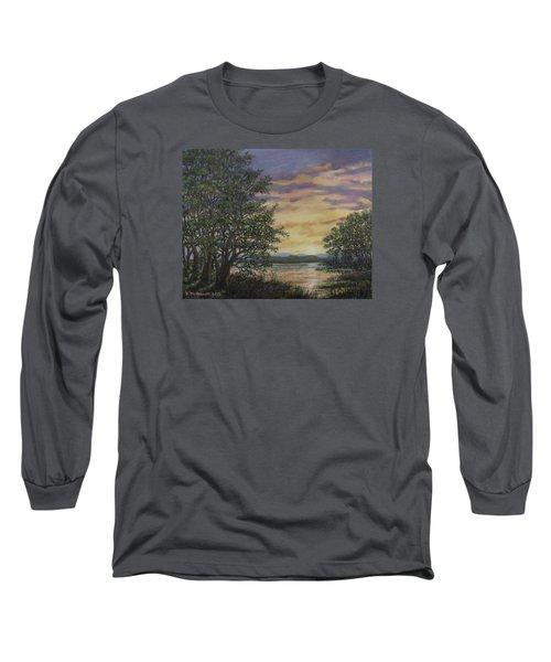River Cove Sundown Long Sleeve T-Shirt by Kathleen McDermott