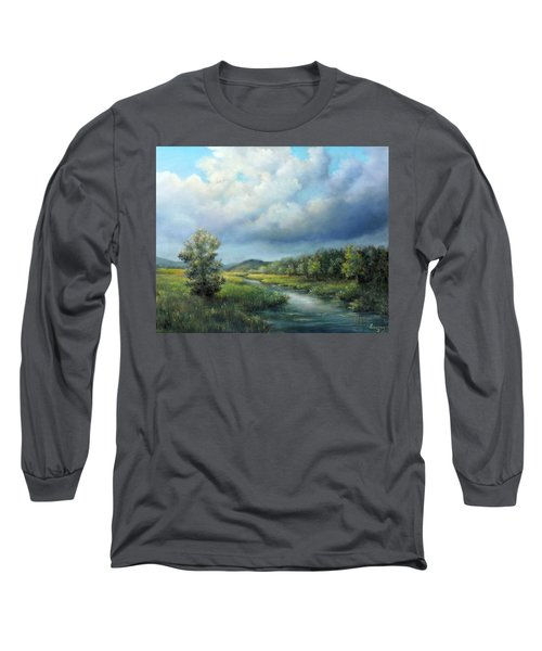 River Landscape Spring After The Rain Long Sleeve T-Shirt