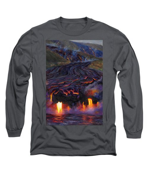 River Of Fire - Kilauea Volcano Eruption Lava Flow Hawaii Contemporary Landscape Decor Long Sleeve T-Shirt
