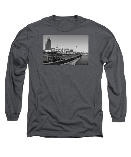 Riverfront Stadium Black And White  Long Sleeve T-Shirt by John McGraw
