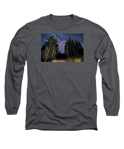 Road To Milky Way Long Sleeve T-Shirt by Michael J Bauer