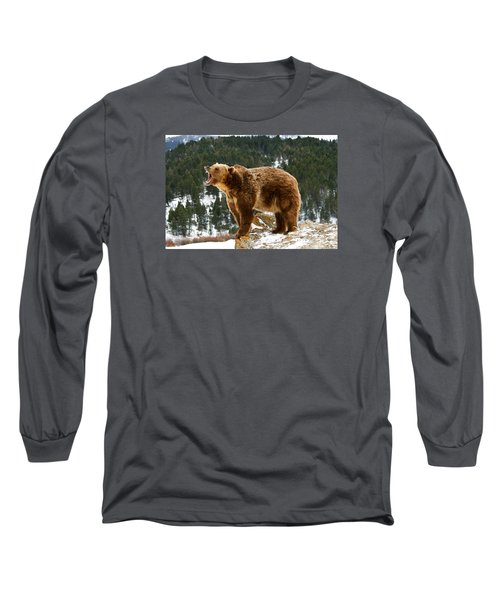 Roaring Grizzly On Rock Long Sleeve T-Shirt
