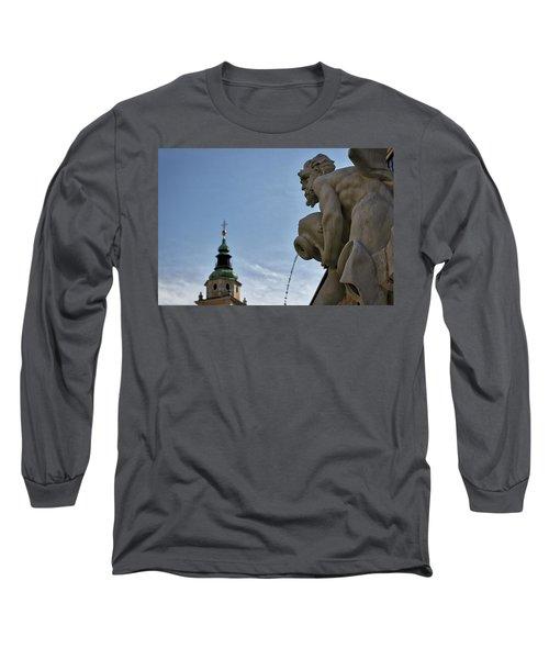 Long Sleeve T-Shirt featuring the photograph Robba Fountain - Ljubljana Slovenia by Stuart Litoff