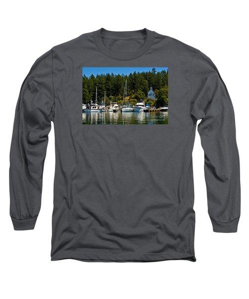 Roche Harbor Marina Long Sleeve T-Shirt by Chuck Flewelling