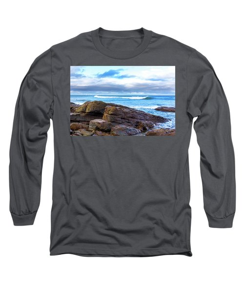 Long Sleeve T-Shirt featuring the photograph Rock And Wave by Perry Webster