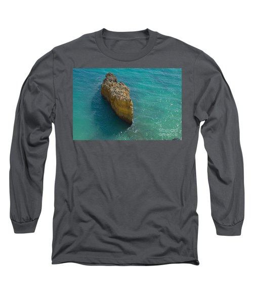 Rock Formation And The Sea In Algarve Long Sleeve T-Shirt by Angelo DeVal