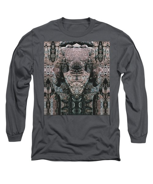 Long Sleeve T-Shirt featuring the digital art Rock Gods Elephant Stonemen Of Ogunquit by Nancy Griswold