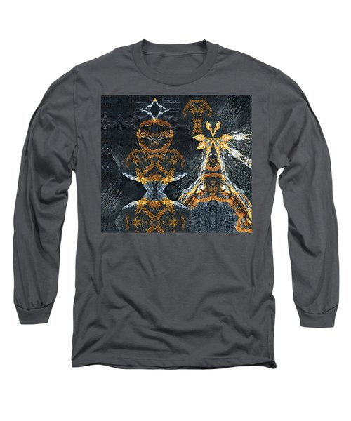 Long Sleeve T-Shirt featuring the digital art Rock Gods Lichen Lady And Lords by Nancy Griswold