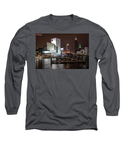 Rock Hall Of Fame And Cleveland Skyline Long Sleeve T-Shirt by Peter Ciro