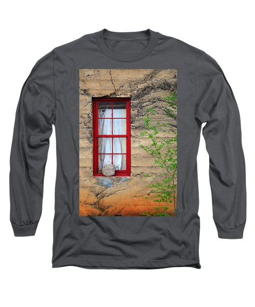 Long Sleeve T-Shirt featuring the photograph Rock On A Red Window by James Eddy