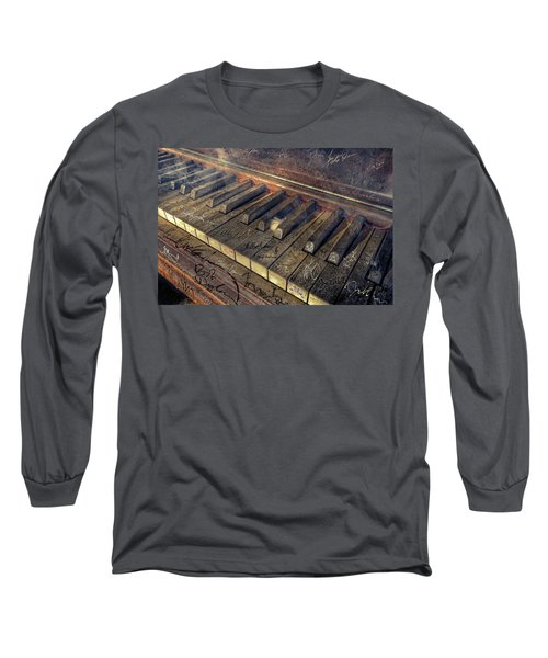 Rock Piano Fantasy Long Sleeve T-Shirt by Mal Bray