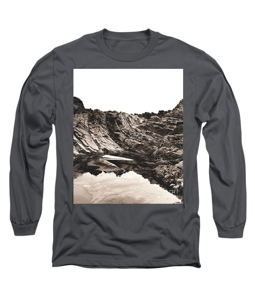 Long Sleeve T-Shirt featuring the photograph Rock - Sepia Detail by Rebecca Harman