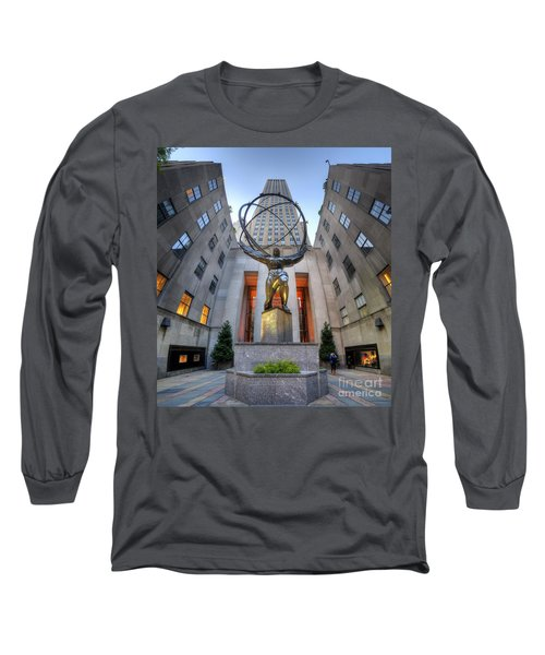 Rockefeller Centre Atlas - Nyc - Vertorama Long Sleeve T-Shirt