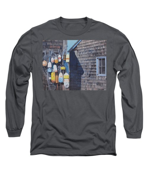 Rockport Fishing Shack With Lobster-buoys And Nets Long Sleeve T-Shirt by Barbara Barber