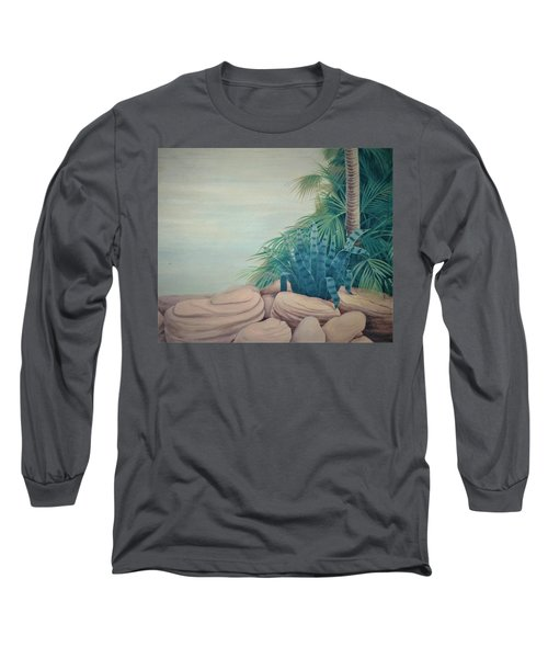 Rocks And Palm Tree Long Sleeve T-Shirt