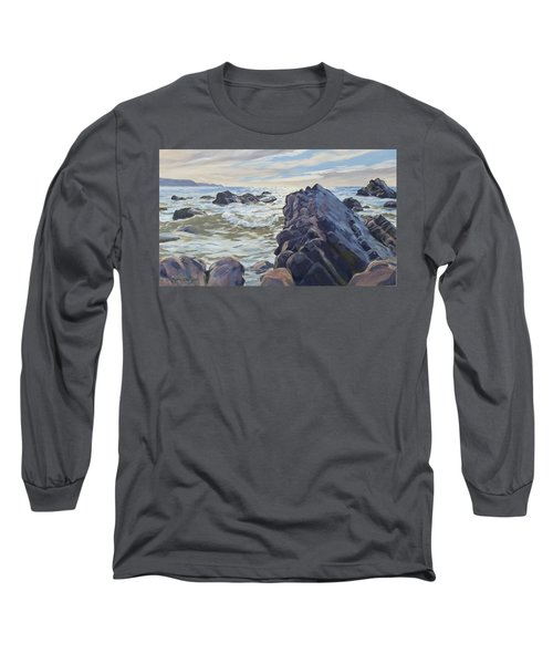 Long Sleeve T-Shirt featuring the painting Rocks At Widemouth Bay, Cornwall by Lawrence Dyer