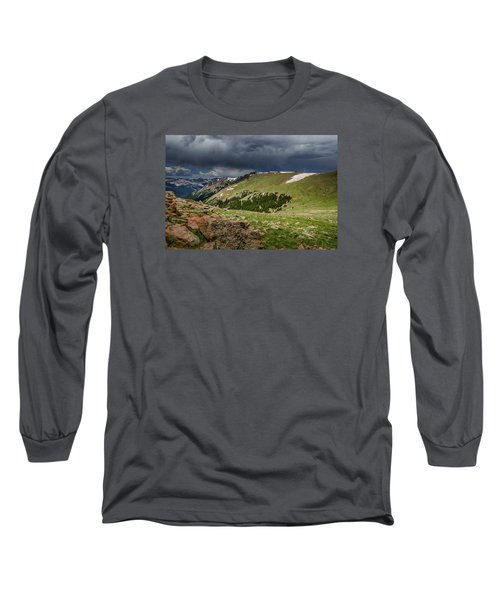 Rocky Mountain Strorm Long Sleeve T-Shirt by Mary Angelini