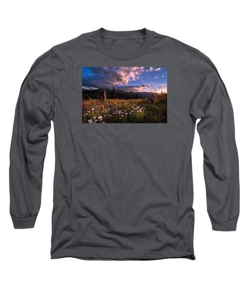 Rocky Mountain Summer Sunset Long Sleeve T-Shirt by Michael J Bauer