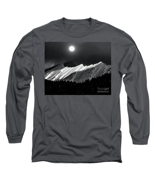Rocky Mountains In Moonlight Long Sleeve T-Shirt by Elaine Hunter