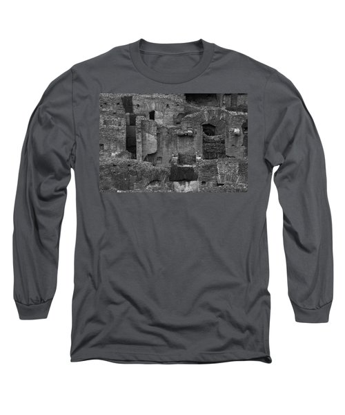 Long Sleeve T-Shirt featuring the photograph Roman Colosseum Bw by Silvia Bruno