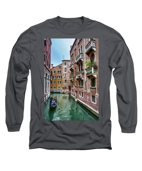 Gondola Ride Surrounded By Vintage Buildings In Venice, Italy Long Sleeve T-Shirt