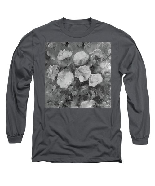 Long Sleeve T-Shirt featuring the painting Romantic Large Roses  by Robin Maria Pedrero