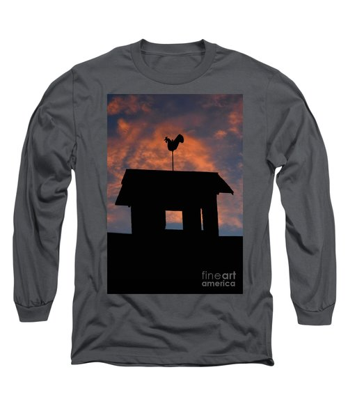 Long Sleeve T-Shirt featuring the photograph Rooster Weather Vane Silhouette by Henry Kowalski
