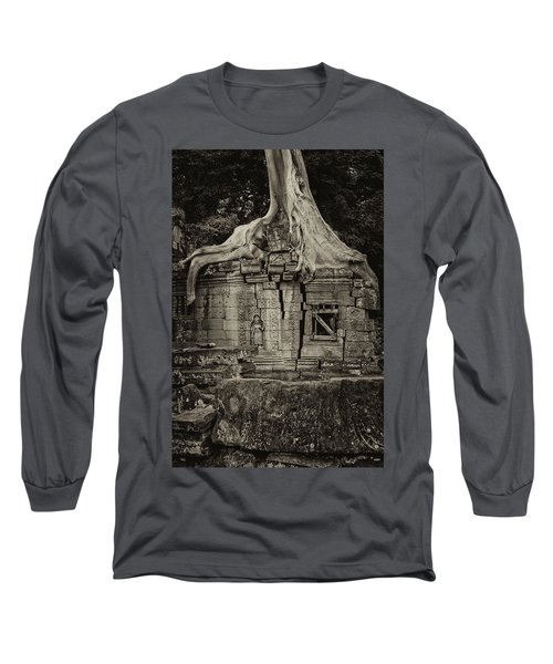 Long Sleeve T-Shirt featuring the photograph Roots In Ruins 5, Ta Prohm, 2014 by Hitendra SINKAR