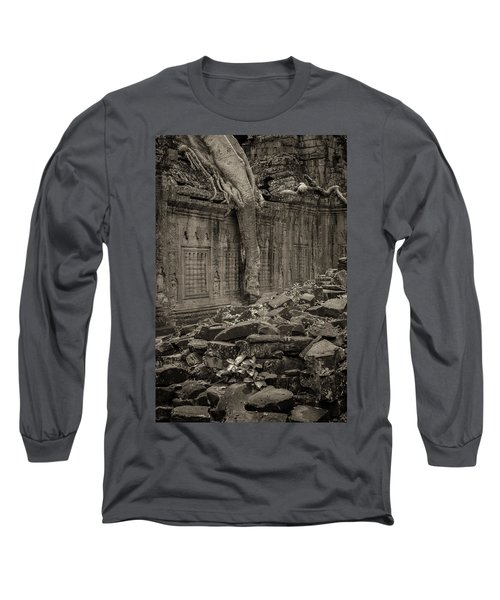 Long Sleeve T-Shirt featuring the photograph Roots In Ruins 6, Ta Prohm, 2014 by Hitendra SINKAR