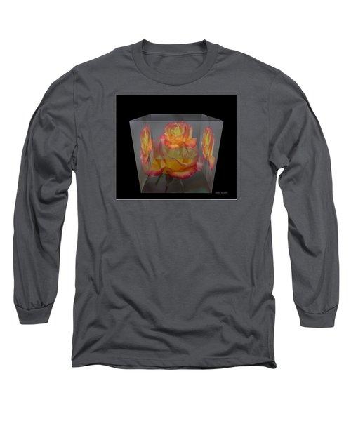Rose Block Long Sleeve T-Shirt by Debra     Vatalaro