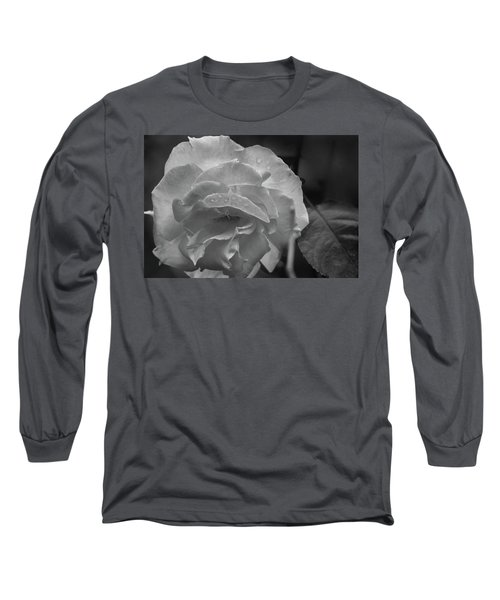 Rose In Black And White Long Sleeve T-Shirt by Kelly Hazel