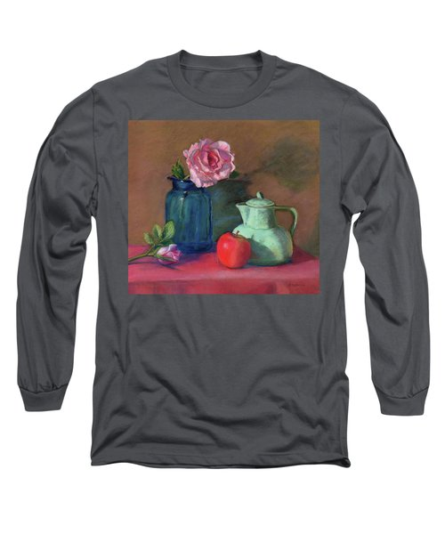 Long Sleeve T-Shirt featuring the painting Rose In Blue Jar by Vikki Bouffard
