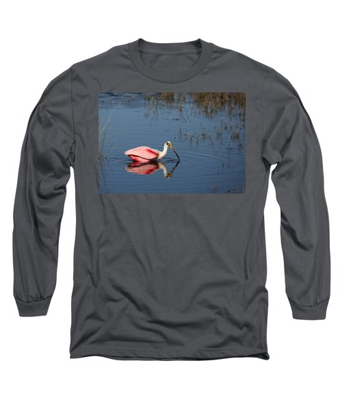 Roseate Spoonbill At Merritt Island Nwr Long Sleeve T-Shirt