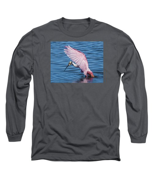 Roseate Spoonbill Profile With Wings Over Her Head Long Sleeve T-Shirt