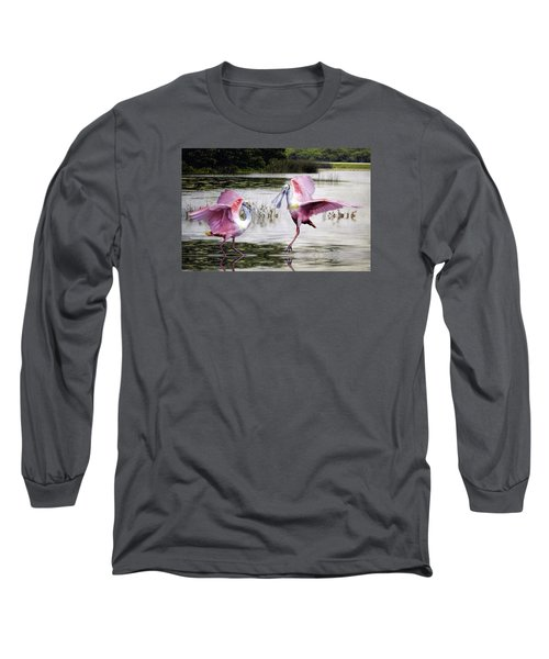 Long Sleeve T-Shirt featuring the photograph Roseate Spoonbills Sparring. by Brian Tarr