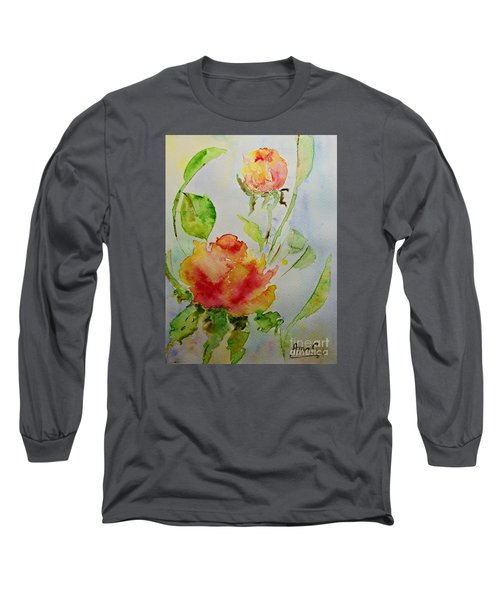 Long Sleeve T-Shirt featuring the painting Roses  by AmaS Art