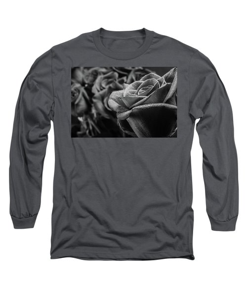 Roses In Black And White Long Sleeve T-Shirt