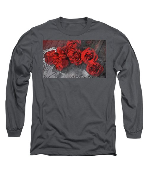 Long Sleeve T-Shirt featuring the photograph Roses On Lace by Bonnie Willis
