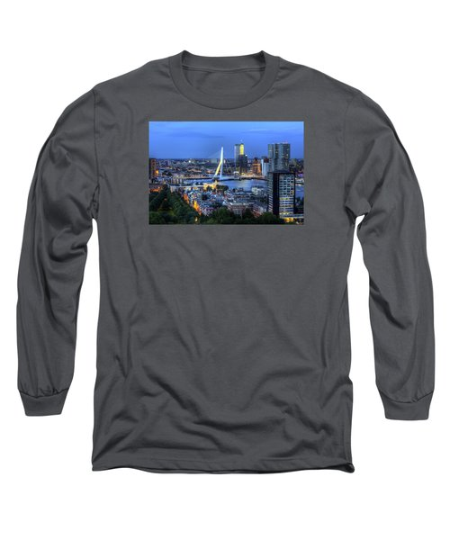 Rotterdam Skyline With Erasmus Bridge Long Sleeve T-Shirt by Shawn Everhart