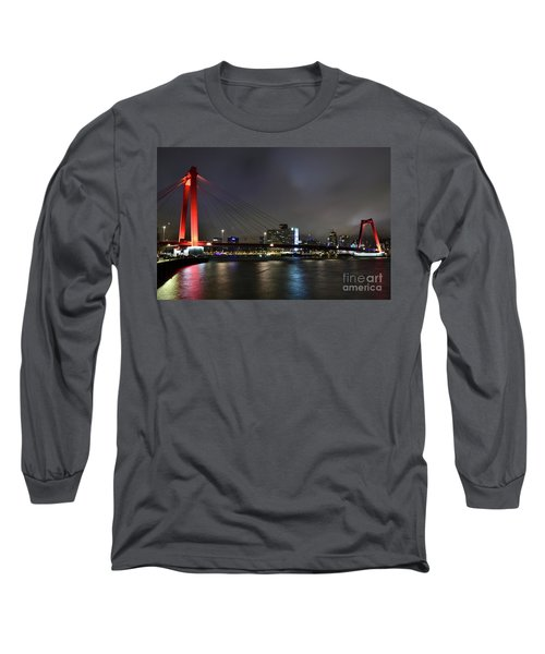 Rotterdam - Willemsbrug At Night Long Sleeve T-Shirt
