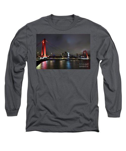 Rotterdam - Willemsbrug At Night Long Sleeve T-Shirt