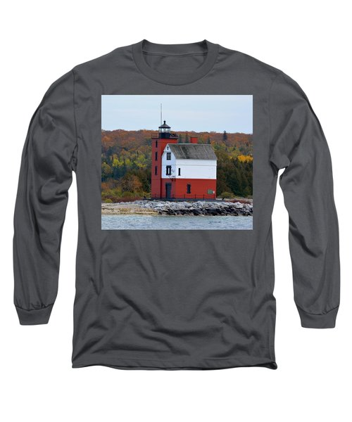 Round Island Lighthouse In October Long Sleeve T-Shirt by Keith Stokes